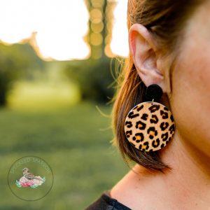 Amber Wood Disc Earrings