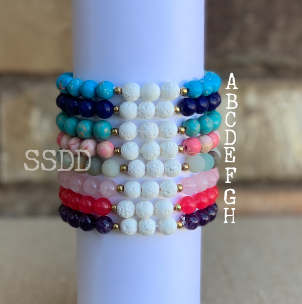 Amelia Glass Bead Essential Oil Bracelet