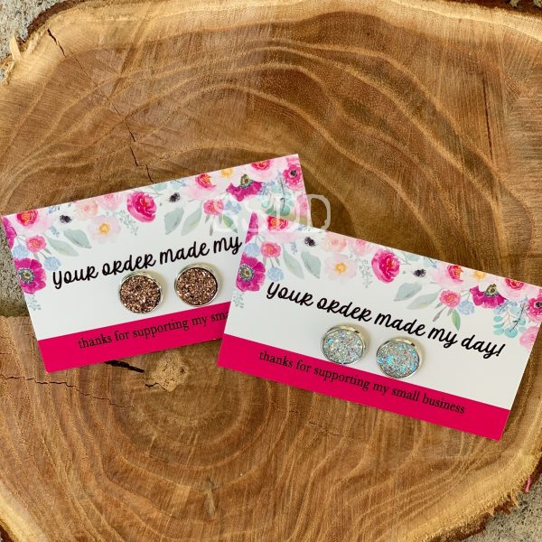 Druzy Earring - Thank you cards