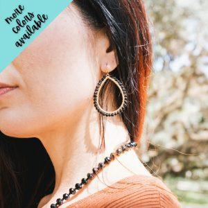 Quinn Wire Wrapped Bead Teardrop Earrings