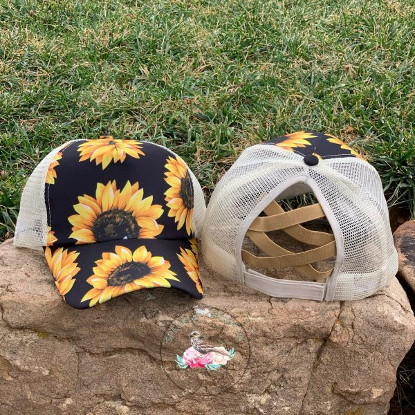 Emily Sunflower Criss Cross Ponytail Hat