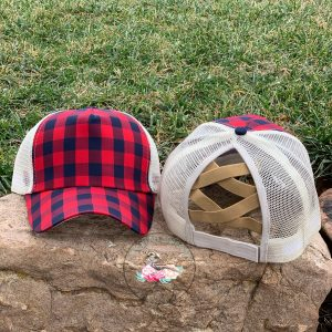 Madison Buffalo Plaid Criss Cross Ponytail Hat