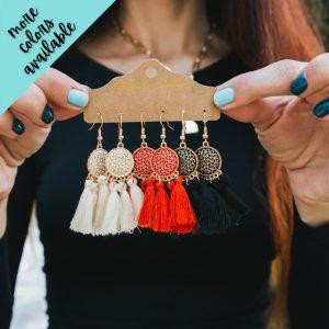 Zoe Medallion Fringe Earrings {Set of 3}