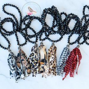Ashley Glass Bead Fringe Necklace