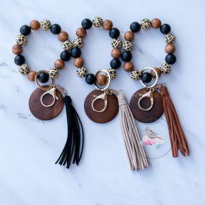 Hannah Leopard Wood Bead Bangle Bracelet