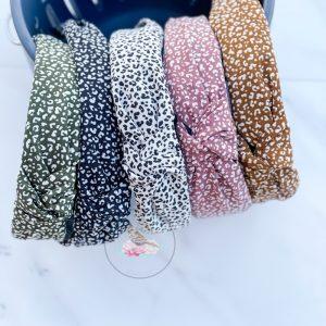 {Dozen Pack} Center Knotted Small Leopard Print Headband