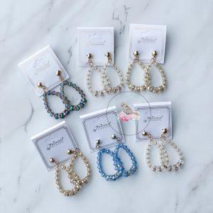 {Dozen Pack} Crystal Bead Teardrop Earrings