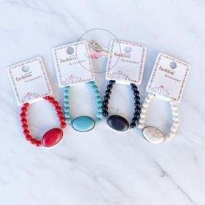 {Dozen Pack} Faux Turquoise Stretch Bracelet