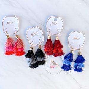 {Dozen Pack} Fringe Tassel Earrings
