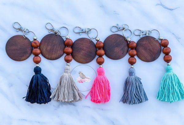 Mina Boho Wood Bead Tassel Keychain