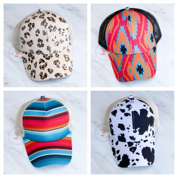 Avery Trendy Print Criss Cross Ponytail Hat