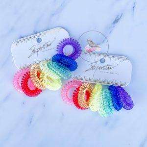 {Dozen Pack} 8 pc Rainbow Telecord Hairties