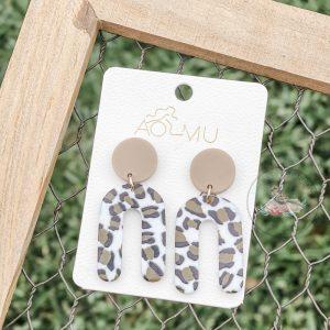 Helen Leopard Print Clay Rainbow Earrings